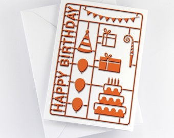 "Birthday Card ""Birthday Party Model Kit"" orange print"