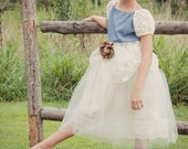 Country Chic Denim and Tulle Junior Bridesmaid Dress