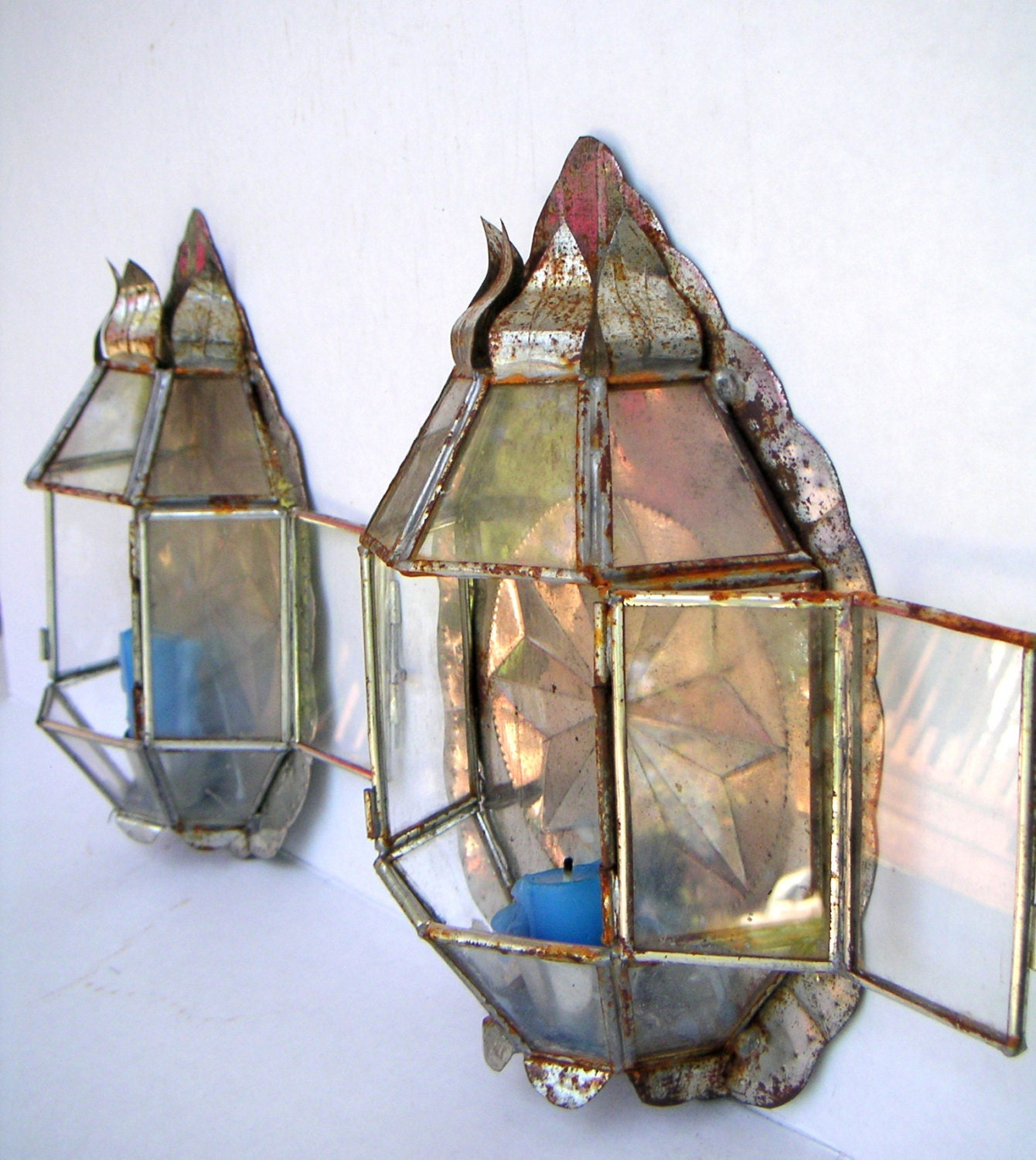 Handmade Glass Wall Sconces : Vintage Handmade Metal Tin Wall Sconce Soldered Glass Panels