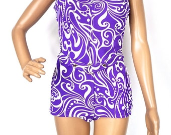 ON SALE Superb 60s Psychedelic Purple Swimsuit