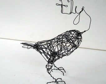 Unique Wire Bird Sculpture - Word Art - FLY FREE