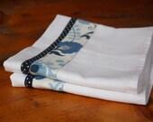 Flour Sack Dishtowel Set, Blue Floral w/ Polka Dots, Dish Towels, Tea Towels