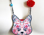 Cat Necklace - Sugar Skull Cat  -  Sugar Jones Cat Necklace