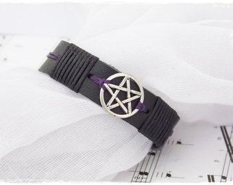 Pentagram Bracelet Cuff, Men's Leather Bracelet, Leather Pentacle Bracelet, Gothic Friendship Bracelet, Seal Of The God's Thuth Leather Cuff