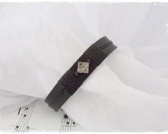 Gothic Leather Bracelet, Celtic Knot Bracelet, Celtic Wedding Bracelet, Men's Leather Cuff, Nordic Gaelic Bracelet, Victorian Bracelet Cuff