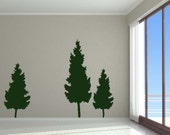 Trees Christmas Evergreen, Pine Tree Wall Decal, Pine Tree Decal, Evergreen Tree, Wall Decal, Vinyl Sticker, Home Decor, Holiday Art, Winter