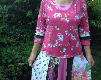Upcycled Recycled Womens Cotton Patchwork Dress, Floral Prints, On Sale!,Lg- XL, #D117