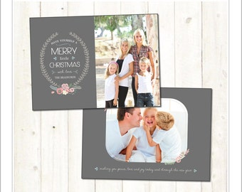 5x7 Christmas Card, Holiday Card, Wreath, Modern, PSD Photoshop Template (CC232) INSTANT DOWNLOAD