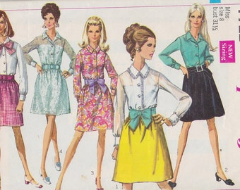 1968 Mod Mini Shirt Dress Vintage Pattern, Simplicity 7722, Buttons, Gathered, Dirndl Skirt, Contrast or Sheer for Evening, Belt or Sash