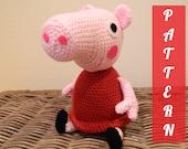 PDF pattern Peppa Pig plush doll crochet amigurumi kids children toddler pink piggy cartoon instant download
