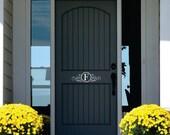 Monogram Door Decor - Name Wall Decal -  Personalized Vinyl Lettering for Door - Front Door Decals
