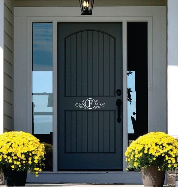 Monogram door decor name wall decal personalized vinyl for Front door wall design