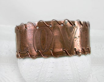 "Etched Copper Cuff, ""Love"", pierced & copper wire coiled, Artisan Metalwork"