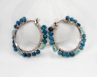 Sterling Silver &  Apatite Hoop Earrings, Wire wrapped, silver gemstone earrings