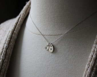 Custom Initial Necklace - Silver Personalized Necklace - Recycled Silver Jewelry - Monogram Discs - Personalized Initial Pendants