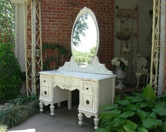 CUSTOM VANITY Order An Antique Vanity And Mirror To Be Restored And Painted  To Your Specs