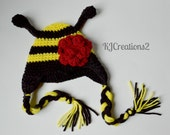 Flower Bumble Bee Hat, Photo Prop, Photography Prop-All sizes
