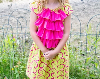 Ophelia's Flutter Sleeve Ruffled Dress PDF Pattern in sizes 6/12 months to 8 girls