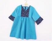 PRINCESS GIRL Dress sewing pattern Pdf, Long 3/4 Sleeve, Yoke, children toddler, Girls size 3 4 5 6 7 8 9 10 years Instant Download
