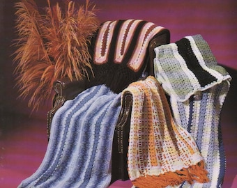 PDF Pattern, Mile-A-Minute Afghan Collection - JAO Enterprises - 5 Quick Easy Crochet Afghan Patterns - Crocheted In Strips with 4 Ply yarn