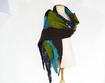 turquoise shawl, limone green blue brown unique OOAK, patchwork handmade soft felted wool, geometrical, bohemian boho artsy wearable art 149