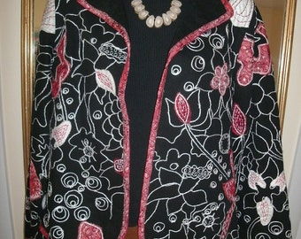 Jacket/YAKMAGIK/Black/White/Red/EMBROIDERY/Size M/Floral/Abstract/No Buttons
