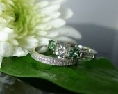 Herkimer Diamond Engagement Ring and Wedding Band Tourmaline Accents