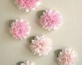 Tissue Paper Pom Pom Two-Toned Flower Stick-Ons/Decals - Set of 6 - Pom Poms - Pom Pom Flowers - Wall Decorations