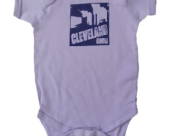 Baby One-Piece - Cleveland Smokestacks (Purple on Lilac)