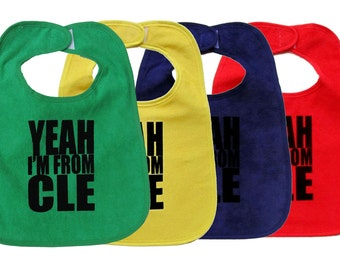 TerryCloth Bibs with 'Yeah I'm From CLE' Design