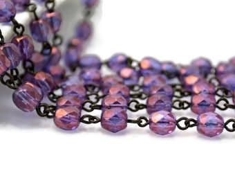Rosary Chain - 6mm Purple AB Beads on Black Brass Links - Czech Bead Chain - 3 Feet