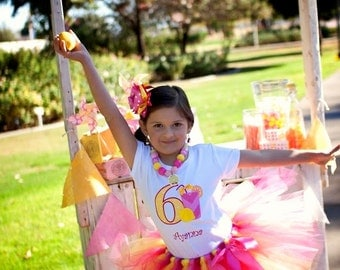 Pink Lemonade Themed Birthday Tutu Outfit-Lemonade Stand Birthday Tutu Set-Lemonade Birthday Outfit *Bow NOT Included*