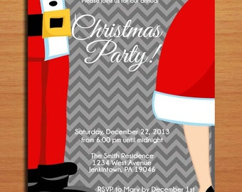 Mr and Mrs Claus / Customized Printable Christmas Party Invitations /  DIY