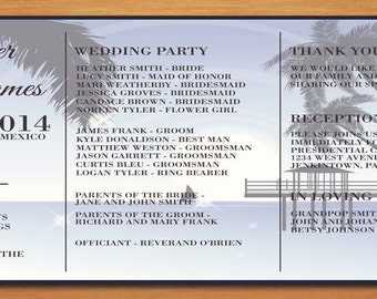Aloha Beach Destination Wedding Program PRINTABLE / DIY