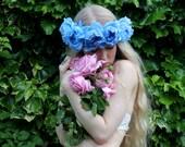 Blue flower peony crown, flower garland, Lana Del Ray, wedding headpiece, floral hairpiece