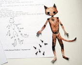 Cat Paper Doll (Brads Included), Movable Kitty Art Doll Print