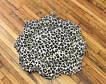 Cat Bed Medium Large Floor Pillow Fleece Cheetah