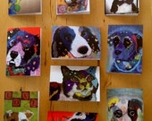 Greeting Cards Set of 10 Robin Panzer Art Torn Paper Pets, Realistic, Pop Art, Mixed Sets Available