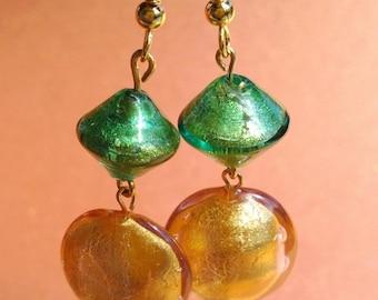 Evergreen and Gold Venetian Glass Dangle Earrings