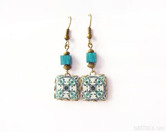 Floral tile Earrings with vintage drawings. Blue & white  Herbal earrings. Arabesque.