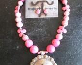 Hot Pink Chunky Funky Wyoming Cowboy Bronc Rider Jewelry Set
