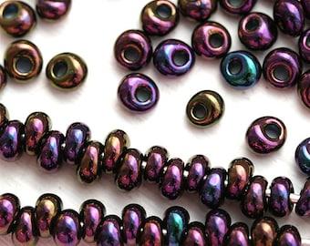 Fringe Seed beads, TOHO Magatama, size 3/0, Metallic Iris Purple, N 85, teardrop glass beads - 10g - S094