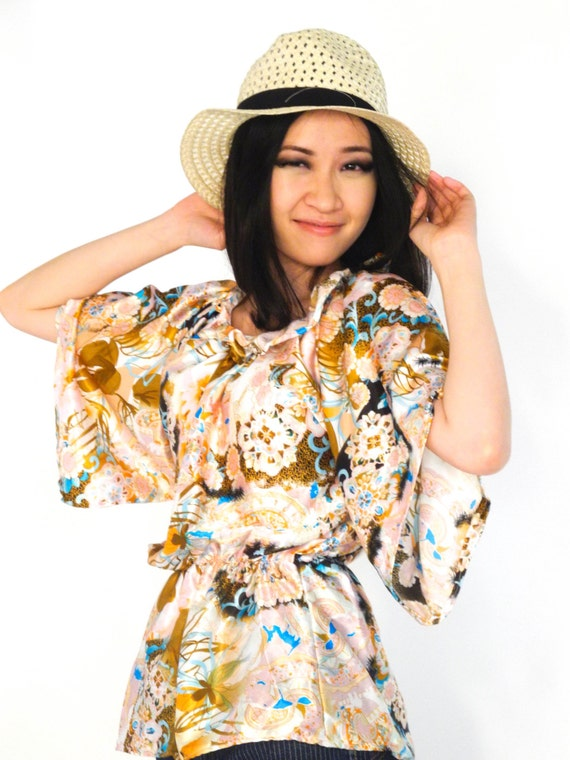 japanese print top batwing kimono inspired oversized top comfy satin silk top