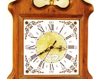 Antique Wall Clock from New England Clock Co.  Bristol Connecticut / Wooden Clocks / Eagle Clocks