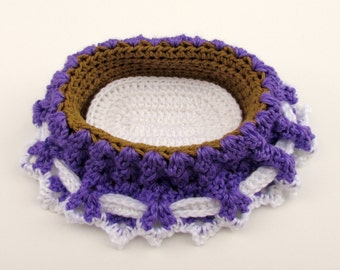 Crochet Cradle Purse in Grape and Brown with White Drawstring and White Doll Mattress