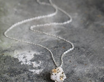 Raw Crystal Necklace - Druzy Pendant Necklace - Raw Stone Jewelry - Quartz Crystal Necklace -  White Stone Necklace