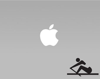 Stick Figure Rowing - Vinyl Macbook / Laptop Decal Sticker