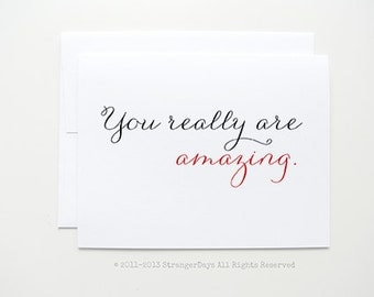 """Anniversary Card """"  You really are amazing"""" Greeting card. I love you card. Sweetheart Card. Adore. Red Heart. Romantic."""