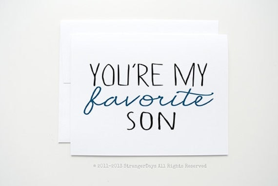 "Son card  ""You're my Favorite Son"" Card for little boy. Family. Greeting Card"