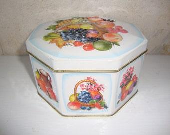 Vintage Octagonal Fruit Tin England
